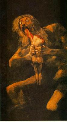 Painting by Goya: Saturn eating his children, my favorite classical depiction of horror.